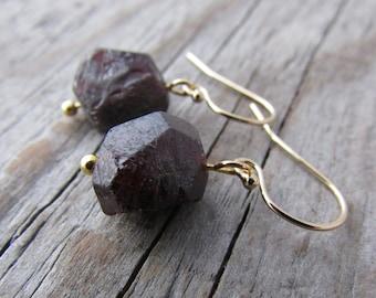 Raw Garnet Earrings, dark red, natural garnet and gold dangle earrings