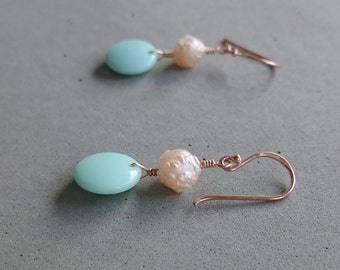 Mint and Rose Gold Earrings - Pink Freshwater Pearl Earrings with Rose Gold Fill