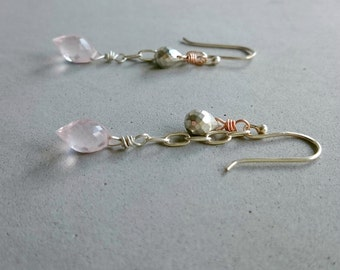Rose Quartz Earrings - Sterling Silver and Rose Gold Earrings with Pyrite and Quartz