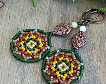 Indian Summer beaded earrings , green , honey jade , copper