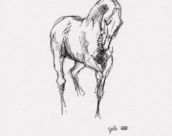 Original Sketch of a Dressage Horse, Animal, Contemporary Original Study, Quick Sketch, Equine Art