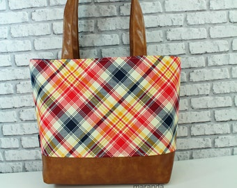 Lulu Large Tote Diaper Bag Red Plaid and PU Leather with Navy Lining  READy to SHIp 6 pockets Nappy Bag