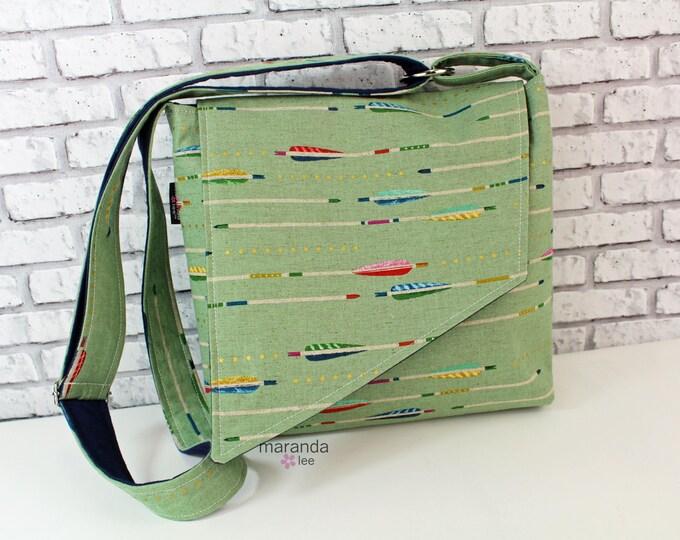 Nori Flap Messenger Slouch Bag with Adjustable Cross Body Bag - Sage Arrows -iPad Bag Knapsack