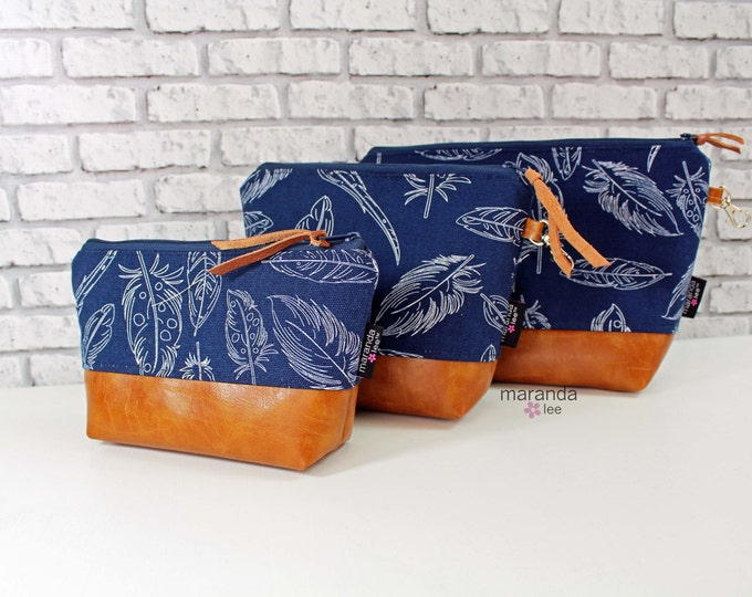 AVA Clutch -Navy Feathers with PU Leather READY to SHIp -  3 Sizes Available - Cosmetic Toiletries bag Travel Make Up Zipper Pouch