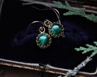 Green Malachite Earrings, Emerald Green Drop Earrings, 14 Karat Gold Earrings, Gold Crown Earrings, Antique Earrings, Regency Earrings.