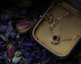 Custom Birthstone Necklace, Garnet Necklace, Diamond Pendant, Antique Diamond Necklace, January Birthstone Jewelry, Custom Necklace.