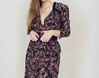 70s Printed Silky Mini Dress