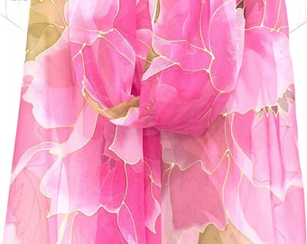 Hand Painted Silk Shawl, Unique Women Scarf, Bridal Pink Chiffon Shawl, Silk Chiffon Scarf, Ethereal Pink Peony Scarf, Takuyo, Made to order