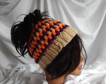 Pony Tail Messy Bun Hat - Crochet Woman's Fashion Hat - Orange, Purple, Tan