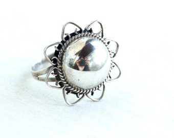 Sterling Silver Dome Ring Size 7 Vintage Mexican Boho Statement Jewelry Lace Starburst Gift for Her