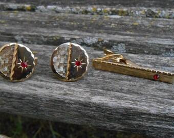 Vintage Cufflink & Tie Clip SET. Gold, Red Stone. Abstract, Modern. Groom, Wedding, Men's Christmas Gift, Dad, Groomsmen