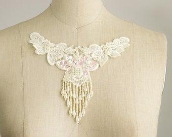 NEW ITEM! Ivory Beaded Sequin Fringe Venice Lace Applique Collar / Also in WHITE / Bridal Applique / Venetian Lace / Neckline