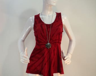 Large red tie dye bamboo tank top with empire waistline.
