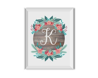 Floral Monogram Art Print, Pink, Mint, Aqua, Flowers, Name, Letter, Customized, Pink Mint Nursery Decor, Girl, Home Decor, Wall Art