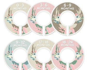 Closet Dividers, Assembled, Baby Closet Dividers, Closet Organizers, Girl, Floral Antlers, Flowers, Deer, Antlers, Woodland Nursery Decor