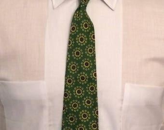 Vintage MENS 40s-50s green, yellow & black cotton rockabilly or swing tie