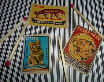 3 Vintage Cat Tiger Kitten Matchbox Labels NOS India 1960s