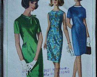 Simplicity 6266 60s 1960s Sheath A Line Dress with Gathered Waist Inset  Vintage Sewing Pattern Size 12 Bust 32