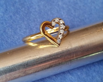 Vintage Esposito Faux Diamond Heart Ring, 14KT GE size 6.75, yellow and white gold plated