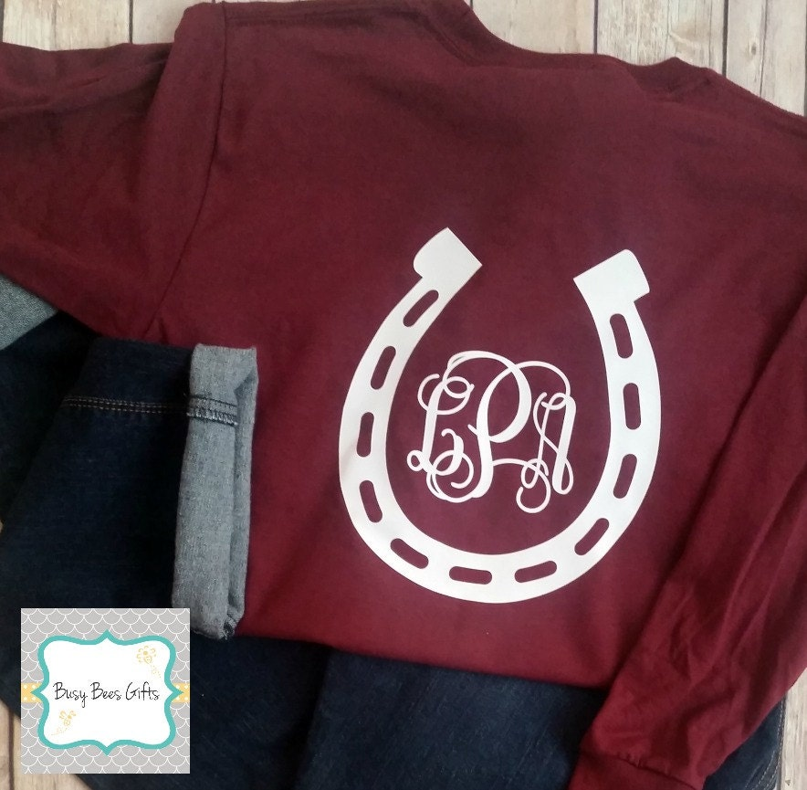 girls horse shoe monogram shirt horseshoe monogram horses