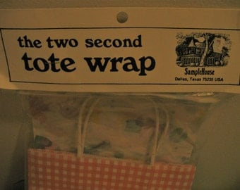 Gift Wrap Package The Two Second Tote Wrap 1 Tote 2 Sheets Tissue 1 Tag 1 Tie GiftWrap New