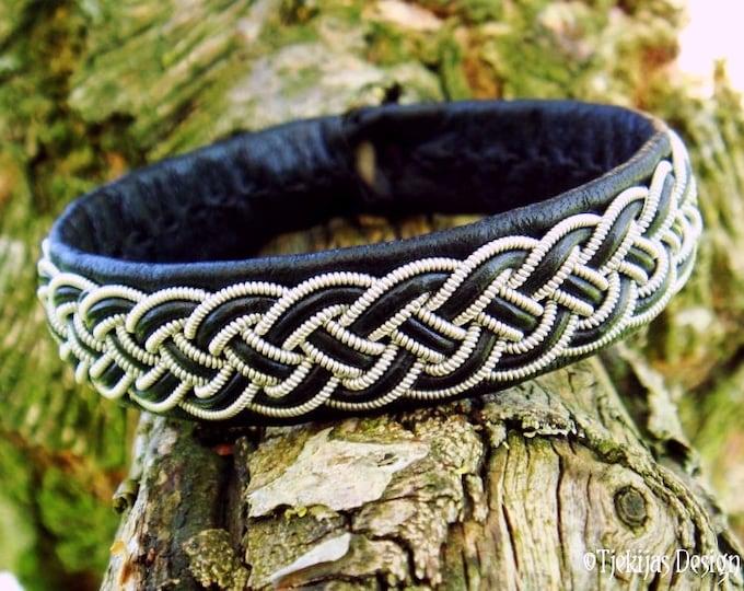 FREKI Black Wolf Viking Bracelet Cuff | Unisex Handmade Leather and Pewter Sami Bracelet | Norse Folklore Jewelry