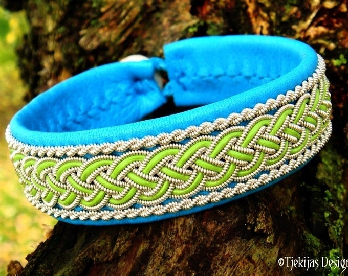 Viking Bracelet Cuff GIMLE Custom Handmade Sami Bracelet in Turquoise and Lime Leather with Pewter Braid and Antler Closure