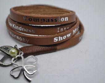Humanity Freedom Tan Color Leather Wrap Clover Charm Bracelet Aruna