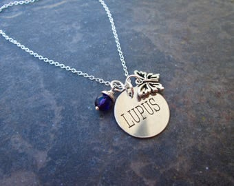 Lupus Awareness necklace with Butterfly and Purple dangle charms and Sterling Silver chain