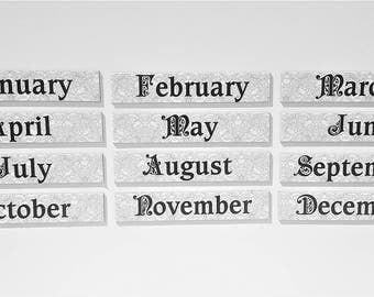 Gray Calendar   Perpetual Calendar   Vinatage Lace   Month Names   Planner Magnets   Dry Erase Calendar Magnets    Memo Board Magnets