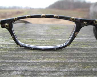 Reading glasses, hand painted Black & Gold Pizzaz +2.50, stylish readers, glitter, bling readers