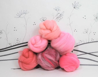 Wooly Buns wool top roving assortment in Blush Pink, 6 piece needle felting sampler, roving supplies, hand dyed roving, pink and wool