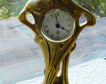 Vintage Figural Faux Art Nouveau Quartz Clock - Woman