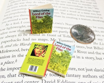 Miniature Book / Lord of the Flies by William Golding / Tiny Book with real blank pages / 1:6 sixth scale mini book / playscale