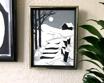 Framed 1978 Snowy Path Acrylic on Canvas Painting Original Art - Signed 10x13
