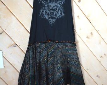 Upcycled Wolf Dress/ Size S-M/ Black dress/ Tank Top Wolf Dress/ Unique Wolf Dress
