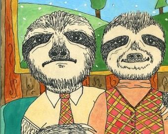 Sloth Love - Original Art on Wood (8 x 10)