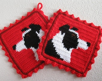Border Collie Pot Holders. Red, crochet potholders with collie dogs. Dog kitchen decor