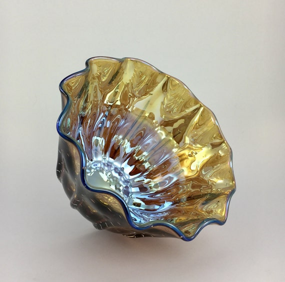 Hand Blown Glass Bowl - Plum Gold Luster Clamshell Bubble Bowl Form by Jonathan Winfisky