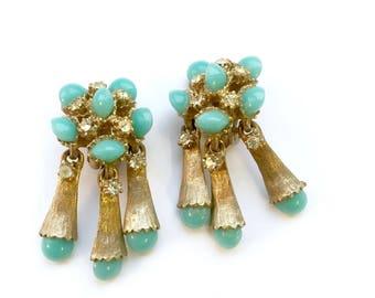 Vintage Turquoise Rhinestone Dangle Drop Earrings Retro Style Fashion Glam Jewelry