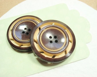 Carved Celluloid Buttons, Double Cut 22mm Vintage Pinwheel Brown & Cream 2 Matching