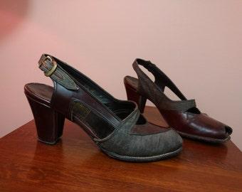 5.5 1940s British Walkers Peep Toe Two Tone Slingback Heels