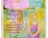 Spring Blessings Printable Journal Kit Equinox Ostara Easter Butterfly Goddess Intention Art E Book Coloring Page Waldorf