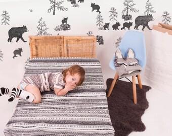 Mama Bear  repositionable Peel and Stick Nursery Wallpaper , Woodland Wall Decal , Bear Nursery Decor , Modern Wallpaper