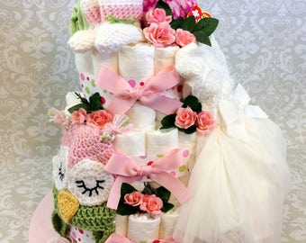Baby Girl Formal Owl 3 tier Diaper cake - an adorable diaper baby shower gift - made to order