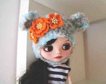 Bear hat. Ear hat for newborn prop. ooak Blythe bear hat. Blythe accessories. Blythe doll hat. Camel bear, blue bear hat