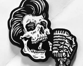 Greaser Skull with Vintage Microphone - Sticker Decal - FREE US SHIPPING