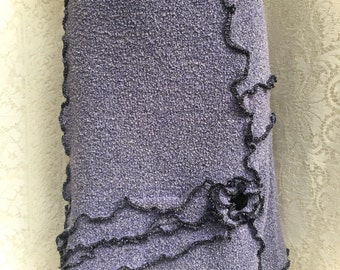 Cotton Sweater Skirt, Upcycled A Line Skirt, Women Small to Medium, Lavender and Black, #SK416