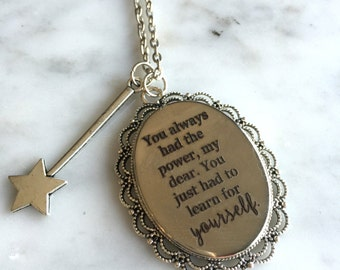 Wizard of Oz Quote Necklace, Wizard of Oz, Glinda Necklace, Glinda Quote Charm, The Good Witch, Customized Quote Necklace, Custom Jewelry