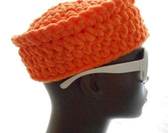 Carrot Orange Chenille Hat, Pillbox Hat for Women, Medium Size